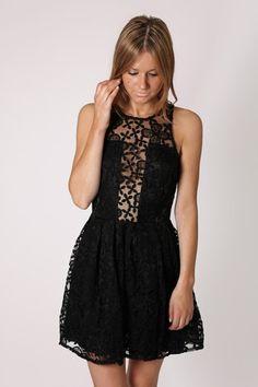grace embroidered high neck cocktail dress- black