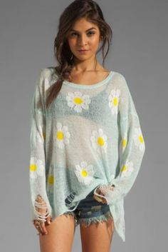Light Blue Beige Long Sleeve Daisy Ripped Hem Sweater pictures