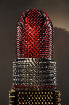 'Giant Lipstick' - 2.5 meters high art object made of 2300+ used lipsticks. 2013