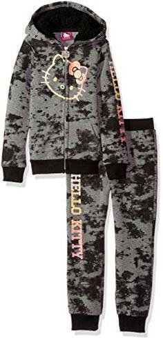 b766a2ed3 Hello Kitty Little Girls' 2 Piece Hooded Fleece Active Set, Charcoal Gray, 5
