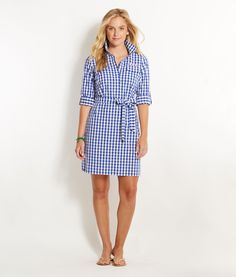 Shop Dresses: Medium Gingham Harbor Shirt Dress for Women   Vineyard Vines