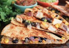 Spicy-Chicken-Quesadillas-with-Corn-Black-Beans-and-Caramelized-Onions-7   Omit chicken?