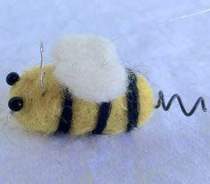 Needle Felted Bee Ornament Little Bumblebee by HeartfeltSantaCruz