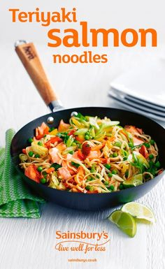 This quick and easy fish dish is ready in 20 minutes and the perfect mid-week meal. This Asian-style salmon is sure to be a hit, and his a healthier but tasty option. Why not swap your egg noddles for Saindbury's butternut squash noodles for an even healthier version.