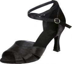 Abby Womens Latin Salsa Tango Cha-Cha Party Mid Heel Round Satin Dance-Shoes Black US Size5 3IN