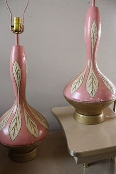 Mid Century Pink and Gold Lamps