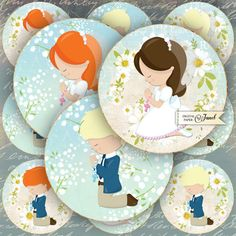 My First Communion  25 inch circles  set of 12  by bydigitalpaper