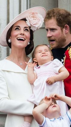 June 11, 2016: Catherine, Duchess of Cambridge, Princess Charlotte and Prince Harry are on the balcony of Buckingham Palace for the RAF flyover after Trooping the Colour.