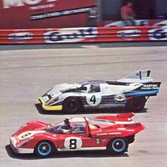 (8) Mike Parkes / Jo Bonnier - Ferrari 512 S/M - Scuderia Filipinetti - (4) Helmut Marko / Gijs van Lennep - Porsche 917K - Martini International Racing Team - 1000 km di Monza, Trofeo Filippo Caracciolo - 1971 International Championship for Makes, round 5 - Campionato Italiano Sport, round 1