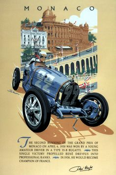 Bugatti Type 35 , Monaco, Rene Dreyfus Serigraph, Vintage style poster by ©  Dennis Simon. This poster is available at centuryofspeed.com