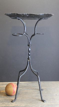 Vintage Metal Wrought Iron Black Plant Stand // Shabby by MyBarn