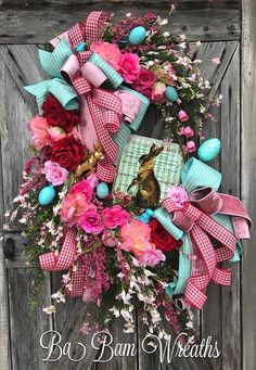 Reserved for ROSIE, Easter Floral Wreath, Spring Wreath, Spring Decor, Spring Door, Bunny Wreath, Bunny Swag, Bunny Decor, Easter Wreath, Easter Swag, Easter Decor Gorgeous Teal & Pinks with hints of the unexpected Red~ make for a Stunning Easter Masterpiece! Dainty florals, roses in