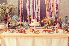 Love this - festive + colorful dessert table | CHECK OUT MORE IDEAS AT WEDDINGPINS.NET | #weddings #cakes #weddingcakes #weddingfood #baking #events #forweddings #ilovecakes #romance #beauty #planners #food #foodies #sweets