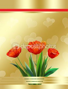 Red tulip, decorate gold background, holiday, illustration, greeting card — Stock Image #94012578