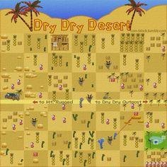 Dry Dry Desert map -- Paper Mario 64