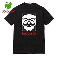 Genius Mr Robot Fsociety Tee Men Graphic  O-Neck Tee Funny Hacker evil genius Series T-shirt  Casual 100%Cotton tshirts
