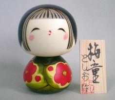 Japanese Creative Kokeshi Doll, Apricot girl by Toshio Sekiguchi