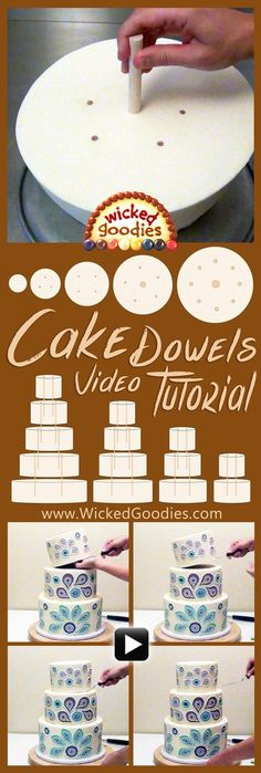 How to stack a tiered cake using wood dowels, video tutorial for how to add interirior supports to wedding cakes, multi-tiered cakes www.wickedgoodies...