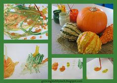 Painting pumpkins & gourds - from Growing Inch By Inch Painting Pumpkins, Pumpkin Soup, Autumn Activities, Preschool Kindergarten, Reggio Emilia, Child Care, Eyfs, Early Learning, Gourds