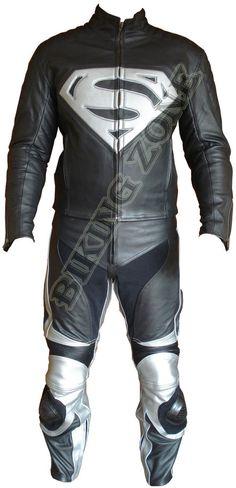 SUPERMAN STIL SCHWARZ & SILBER MENS-MOTORRAD / MOTORRADJACKE AUS LEDER & ANZUG   eBay
