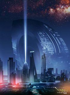 The Citadel, Steve Palmerton - Carline Goalley Cyberpunk Aesthetic, Cyberpunk City, Futuristic City, Futuristic Architecture, Concept Architecture, Fantasy City, Sci Fi Fantasy, Alien Worlds, Worlds Of Fun