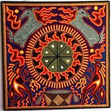 "12"" Mexican Huichol Deer, Peyote and Marakame / Shaman yarn painting"