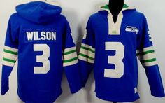 Russell Wilson Light Blue Seattle Seahawks Pullover Hoodie