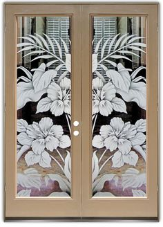 Hibiscus & Cala Lilies 2D - Double Entry Doors Hand-crafted, sandblast frosted and 3D carved. Available as interior or entry door in 8 woods and 2 fiberglass. Slab door or prehung any size, or as glass insert only. Our fun, easy to use online Glass and Door Designer gives you instant pricing as YOU customize your door and glass! When you're all finished designing, you can place your order right there online! Doors ship worldwide from Palm Desert, CA