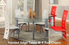 metal tube table with leather chairs for dining room