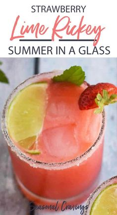 Let's celebrate the end of summer with this super delicious Strawberry Lime Gin Rickey. It's the perfect combo of sweet and sour with lots of summer freshness. Easy Cocktails, Cocktail Drinks, Cocktail Recipes, Vodka Cocktails, Popular Cocktails, Sweet Cocktails, Craft Cocktails, Strawberry Gin, Strawberry Cocktails