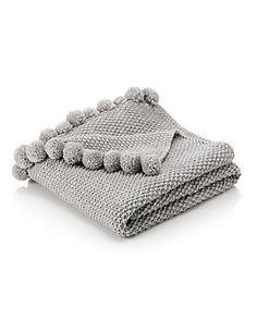 Cream Pom-Pom Knitted Throw