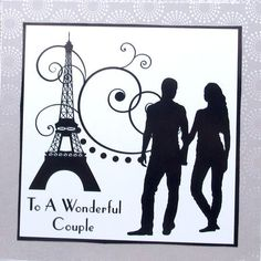 To a wonderful couple 8x8 black and white topper on Craftsuprint designed by Amanda McGee - made by Darlene Handorff - OMG these are beautiful and very easy to work with. I printed out full size onto glossy photo paper and cut out the pieces. Using CUP 8 x 8 card blank and envelope makes this so easy to make simply elegant cards. I cut a scrapbook embossed card stock made for wedding scrapbook making to fit the 8 x 8 card blank. I attached it to the card with DST and then added the pattern…