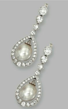 PAIR OF PLATINUM, NATURAL PEARL AND DIAMOND PENDANT-EARRINGS The pendants are set with natural pearl drops measuring approximately 10.27 by 8.70 mm. and 10.23 by 8.94 mm., framed and surmounted by old European-cut, single-cut and rose-cut diamonds weighing approximately7 3.00 carats.