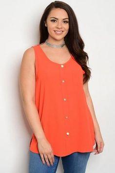 0c96f5a11 Plus Size Orange Scoop Neck Button Up Sleeveless Tunic Top Sizes 1X.2X