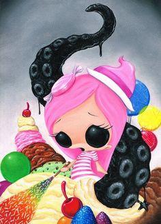Sugar Fueled Comic Candy Pink Girl Witch Rainbow by Sugarfueledart