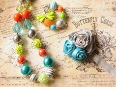 Fall Chunky Necklace, Bracelet, and Headband Set, Orange, Aqua, Green, and Gray Bubblegum Necklace, Girls Chunky Necklace, Womens Necklace