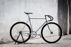 Custom Pista in matte grey Fixed Wheel Bike, Fixed Gear Bicycle, Factory Five, Touring Bike, Bike Frame, Custom Decals, Bicycle Accessories, Bicycle Design, Road Bikes