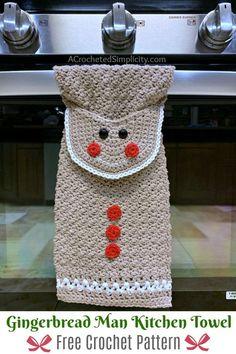 Gingerbread Man Kitchen Towel – Free Crochet Towel Pattern – A Crocheted Simplicity Free Crochet Pattern – Gingerbread Man Kitchen … Crochet Dish Towels, Crochet Towel Topper, Crochet Kitchen Towels, Crochet Dishcloths, Crochet Granny, Crochet Motif, Crochet Shawl, Crochet Home, Crochet Gifts