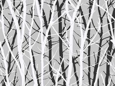 Tree Silhouette (SK175203) - Shand Kydd Wallpapers - A striking tree trunk and branch design shown in white and black trees on metallic silver. This is a pre pasted product. Please request a sample for true colour match. Wide Width