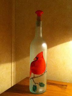 Hand Painted Wine Bottle - Red Bird