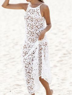 8b44082bd9 White Spaghetti Strap Deep V Back Sleeveless Lace Crochet Maxi Dress