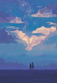 I want to make beautiful art like this. Fantasy Landscape, Landscape Art, Fantasy Art, Pretty Art, Cute Art, Aesthetic Art, Aesthetic Anime, Main Manga, Wallpaper Animes