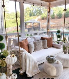 Fall front porch with rope swing with pillows via Mygeorgiahouse- Kellye. Fall front porch with rope swing with pillows via Mygeorgiahouse- Kellye. A great way to decorate your front porch for autumn! More seasonal decor this way. Dream Home Design, My Dream Home, Dream House Plans, Barn House Plans, Dream House Exterior, House Rooms, New Homes, Decor Ideas, Decorating Ideas