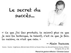 « Ce que j'ai (les produits, la saison) plus ce que je sais (la technique, le talent), c'est ce que je fais. La cuisine, ce n'est que cela. » — Alain Ducasse - La Revue HRI : HOTELS, RESTAURANTS et INSTITUTIONS