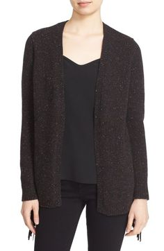 autumn cashmere Suede Fringe Cashmere Open Cardigan available at #Nordstrom