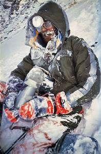 """Just saw the movie """"Everest"""" about the 1996 disaster, when 8 people died on the mountain.  Jake Gyllenhaal played Scott Fisher, who perished and here's his body still on the mountain..  Just to be clear its Scott Fishers body not Jake Gyllenhaals..."""