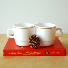 Vintage French Mugs White Milk Glass Cafe Cups by vint on Etsy, $8.00