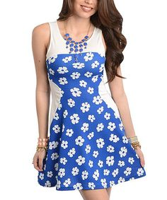 White & Royal Blue Floral Cutout Dress by Buy in America #zulily #zulilyfinds