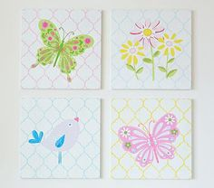 girls' room - I could do this - Wood Nature Plaques #PotteryBarnKids