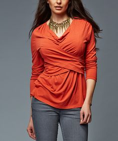 This Burnt Orange Louise Nursing Top by LOVE MILK is perfect! #zulilyfinds